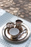 Bosnian coffee. Fresh make and prepared and served bosnian traditional coffee in Sarajevo Royalty Free Stock Photo