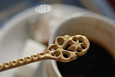 Bosnian coffee, coffee spoon and Turkish delight , Mostar Stock Photos
