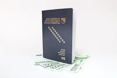 Bosnian passport and money on white. Background Royalty Free Stock Image