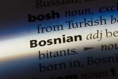 Bosnian. Word in a dictionary.  concept Stock Images
