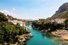 BOSNIEN - Mostar, sikt Arkivfoton