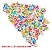 Bosnien och Hercegovina översikt - mosaik av färgtrianglar royaltyfri illustrationer
