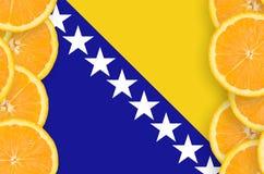 Bosnien och Hercegovina flagga i vertikal ram för citrusfruktskivor fotografering för bildbyråer