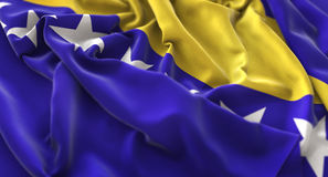 Bosnien och Hercegovina flagga rufsade vinkande Beautifully makroClo Royaltyfria Bilder