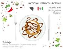 Bosnien och Hercegovina kokkonst Europeisk nationell maträttcollectio vektor illustrationer
