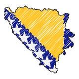 Bosnien und Herzegowina Karten-Handgezogene Skizze Vektorkonzept-Illustrationsflagge, die Zeichnung der Kinder, Gekritzelkarte La vektor abbildung