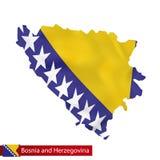 Bosnien und Herzegowina zeichnen mit wellenartig bewegender Flagge von Bosnien und von Herzeg auf Stock Abbildung