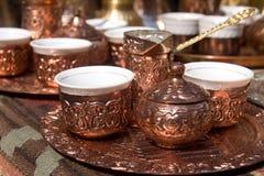 bosnisk turk för kaffeset Fotografering för Bildbyråer