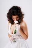 Bosomy girl in low-necked dress. Stock Images