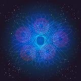 Boson Higgs, kvantmekaniker Resa i utrymmet Stor smällillustration Abstrakt kosmisk bakgrund för vektor Royaltyfri Bild