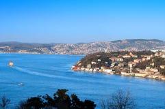bosphorus伊斯坦布尔panoromic视图 免版税库存图片
