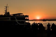 Bosphorus日落视图 免版税库存图片