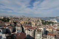 Bosphorus桥梁和海峡如被看见从伊斯坦布尔的欧洲边,在土耳其 库存图片