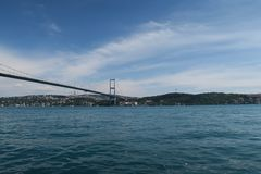 Bosphorus桥梁和海峡如被看见从Ortakoy清真寺在伊斯坦布尔,土耳其 库存图片