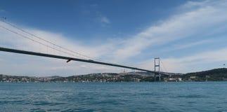 Bosphorus桥梁和海峡,如被看见从Ortakoy清真寺在伊斯坦布尔,土耳其 免版税库存照片