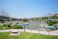 Bosphorus桥梁在Miniaturk博物馆 库存图片
