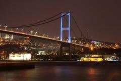 Bosphorus桥梁的晚上视图 Bosphorus的海岸 库存照片