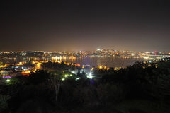 Bosphorus的晚上视图 Bosphorus的海岸 库存图片