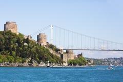 Bosphorus的Rumeli Hisari堡垒在伊斯坦布尔,土耳其 免版税库存图片