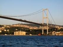 Bosphorus. The modern Bosphorus Bridge and on Ottoman Palace in Istanbul stock image