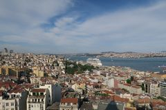 Bosphorus and Beyoglu as seen from the european Side of Istanbul Stock Photo