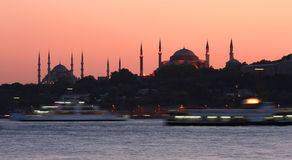 Bosphorus bij zonsondergang royalty-vrije stock afbeelding