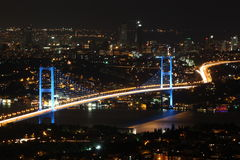 Bosphorus Bridge. Night shot of Bosphorus Bridge from Istanbul Turkey stock images