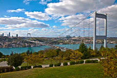 Bosphorus with Bridge Royalty Free Stock Images