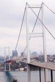 Bosphorus Bridge. And European Side of Istanbul, Turkey royalty free stock photography