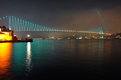 Bosphorus bridge. With blue lighting Stock Photos
