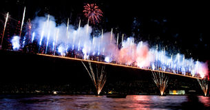 Bosphorus Bridge. Fireworks and light show at  Bosporus Bridge Istanbul Turkey Royalty Free Stock Photos