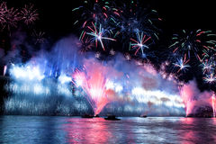 Bosphorus Bridge. Fireworks and light show at  Bosporus Bridge Istanbul Turkey Stock Image