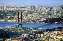 Bosphorus bridge. From Asian part of Istanbul, a panoramic view of Bosphorus intercontinental bridge with Europe as background Royalty Free Stock Image