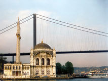 Bosphorus bridge. And palace at istambul Stock Photography