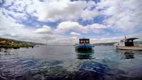Bosphorus bridge and boat landscape from Cengelkoy istanbul stock video footage