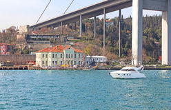 Bosphorus Bridge and Hatice Sultan Palace, Istanbul Stock Images