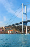 Bosphorus Bridge and Hatice Sultan Palace in istanbul, Turkey Stock Image