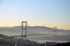 The Bosphorus bridge in a humid morning. Royalty Free Stock Images