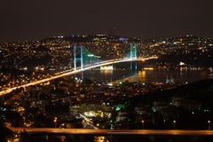 Bosphorus Bridge, Istanbul at night Royalty Free Stock Photo