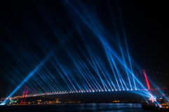 Bosphorus Bridge, Istanbul. Night view of Bosphorus Bridge with light shows in blue color. Istanbul, Turkey Royalty Free Stock Photography