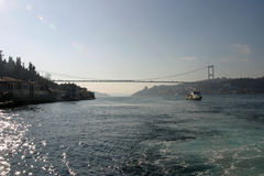 Bosphorus bridge. In Istanbul, Turkey Royalty Free Stock Photos