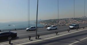 Bosphorus Bridge. ISTANBUL, TURKEY - 7 APRIL 2016: Bosphorus Bridge in Istanbul, the Sultan Mehmed: April 7, 2016 in Istanbul, Turkey stock video footage