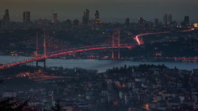 Bosphorus Bridge 4K Time-lapse Day to Night. Bosphorus Bridge Time-lapse Day to Night stock footage