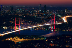 Bosphorus Bridge at night Royalty Free Stock Images
