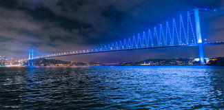 Bosphorus Bridge at Night Stock Photography