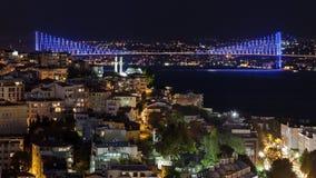 Bosphorus bridge by night Royalty Free Stock Photos
