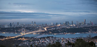 Bosphorus and bridge at night, Istanbul Royalty Free Stock Image
