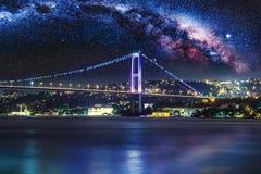 Bosphorus Bridge at night, Istanbul Stock Photo