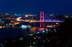 Bosphorus bridge at night. Long exposure photo of Bosphorus bridge, Istanbul, Turkey Stock Image