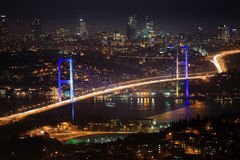 Bosphorus bridge at night Royalty Free Stock Photography